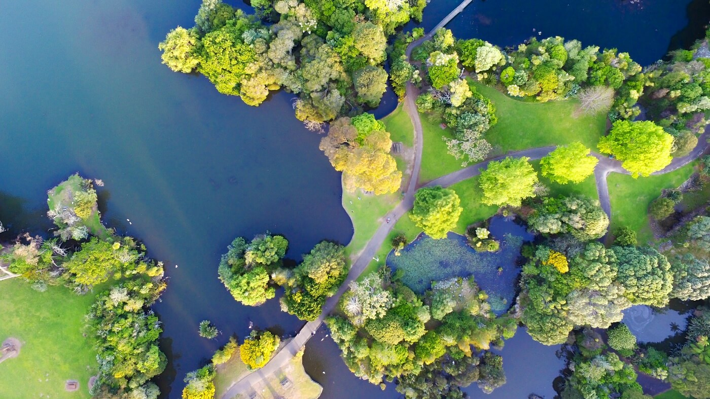 Aerial photo of Auckland lake