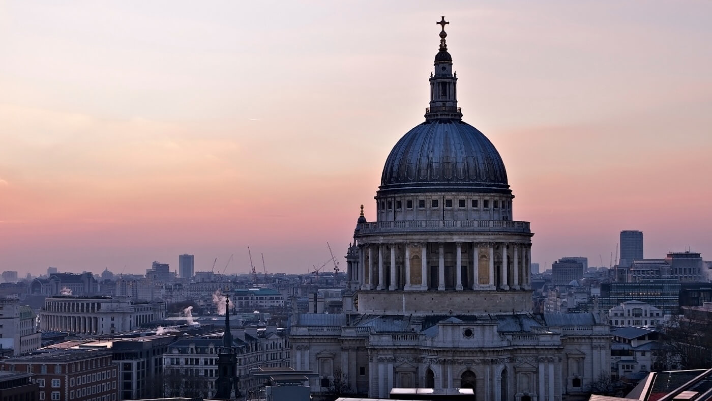 London skyline shot with st pauls cathedral